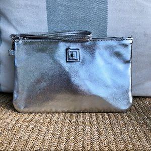 Liz Claiborne metallic silver charging bank clutch